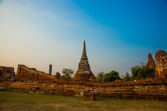 Ancient palaces on the background of blue sky. Ayutthaya Thailand. Stock Photo