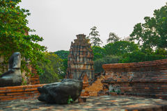 Ancient palaces on the background at sunset. Ayutthaya Thailand. Stock Images