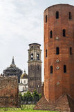 Ancient Palatine Tower and  the Cathedral of Turin Royalty Free Stock Images