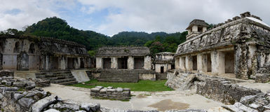 Ancient Palenque Maya archaeological site. Panoramic view on Palenque archaeological site, one of the biggest for ancient Maya royalty free stock photo