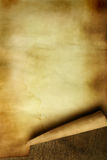 Ancient paper. With curl on wooden table close up stock photos