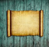 Ancient paper scroll. Illustration of antique paper scroll on wooden background Stock Images