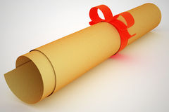 Ancient paper scroll with red stripe and bow. Royalty Free Stock Photos