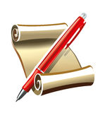 Ancient papyrus scroll with a modern pen Royalty Free Stock Image