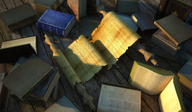 Ancient papyrus surrounded by very old books on wooden floor. Stock Photography