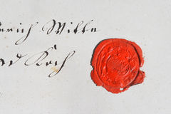 Ancient parchment manuscript with wax seal. 18th century Royalty Free Stock Photo