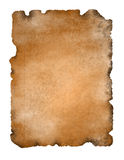 Ancient Parchment Paper isolated. Old, burnt and dirty illustrated parchment paper for annoncement, stationery, invitation or template. Isolated on white Stock Photos