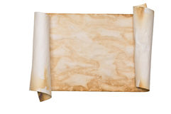 Ancient parchment scroll. Ancient looking parchment made to look like an old scroll. Isolated on white with a clipping path Stock Image