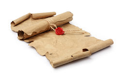 Ancient parchment scrolls with seal wax Royalty Free Stock Photo