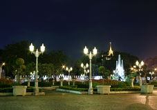 Ancient park of monument and pagoda. Night scene of ancient pagoda  in thailand Royalty Free Stock Photo