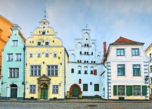 Ancient part of Riga with oldest medieval buildings. Morning in medieval part of Riga - famous tourist city, Latvia, Europe stock photo