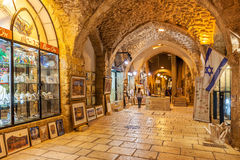 Ancient passage and gift shops gallery. Stock Photo