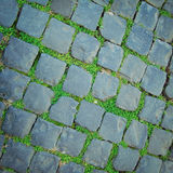 Ancient pavement in Rome vintageeffect. Stone roadway with grass growing through. Royalty Free Stock Photos