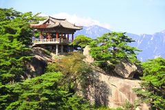 Ancient pavilion on Kumgangsan mountains, North Korea DPRK. Ancient pavilion on Kumgangsan mountains Diamond Mountains near to Samil lake, Kangwon Province, in stock photos