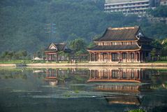 The ancient pavilion by the lake Stock Photo