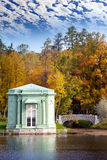 Ancient pavilion on the lake in palace park. Gatchina. Petersburg. Russia. Royalty Free Stock Photo