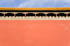 Ancient pavilion and red wall of Forbidden City Stock Photos
