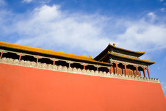 Ancient pavilion and red wall of Gate Wumen in For Royalty Free Stock Image