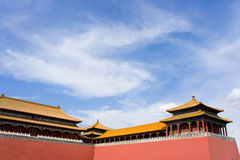 Ancient pavilion and red wall of Gate Wumen in For. Bidden City, Beijing, China. The grand and magnificent Palace embodies the essence of ancient Chinese Stock Photo