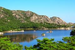 Samil lake, Kangwon Province, North Korea DPRK. Ancient pavilion on Samil Samil-po lake, Kangwon Province, in south-eastern North Korea DPRK Royalty Free Stock Images