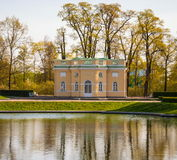 Ancient pavilion on the shore of the pond in Tsarskoye Selo Royalty Free Stock Photography