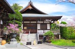 Ancient pavilions and flowering sakura, Hokokuji temple, Kamakura, Japan. Ancient pavilions and flowering sakura in Hokokuji temple, Kamakura, Japan stock photos