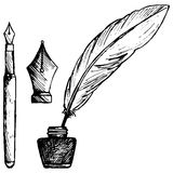Ancient pen, inkwell and old ink pen Stock Image