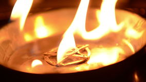 Ancient pentagram burning at altar stock footage