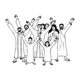 Ancient people praying and praising. Illustration of an ancient crowd of people praying and praising, black and white version. Useful also for educational or Royalty Free Stock Photo