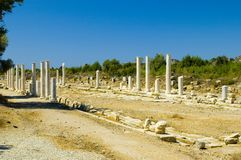 Ancient Perge. Archeological view of ancient site in Perge Turkey Royalty Free Stock Photography