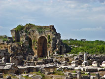 Ancient Perge city. Perge, located 19 km east of Antalya, used to be one of the most important cities of ancient Pamphylia. Its most notable son was Apollonius Stock Images
