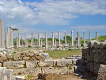 Ancient Perge city. Perge, located 19 km east of Antalya, used to be one of the most important cities of ancient Pamphylia. Its most notable son was Apollonius Royalty Free Stock Photos