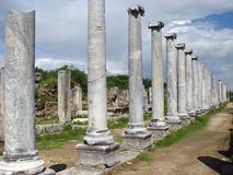 Ancient Perge city. Perge, located 19 km east of Antalya, used to be one of the most important cities of ancient Pamphylia. Its most notable son was Apollonius Stock Photography