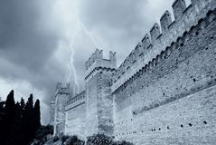 Ancient perimeter walls of the fortress Royalty Free Stock Images
