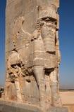 Ancient Persian Achaemenid Lamassu in Persepolise of Shiraz Stock Image