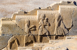 Ancient persian bas-relief in Persepolis Royalty Free Stock Photos