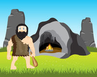 Ancient person beside caves Stock Photography