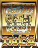 Ancient Peruvian gold ornament illustration Stock Images
