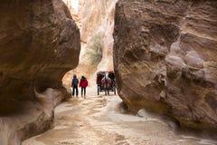 Ancient Petra. JORDAN, Ancient Petra - 10 JANUARY 2017:Tourist complex of the ancient city of Petra with tourists and locals: JANUARY 10, 2017 in Jordan. Ancient Stock Photo