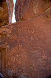 Ancient petroglyph drawings. Ancient drawings carved on the rocks in the Valley of Fire near Las Vegas in Nevada, USA Stock Photography