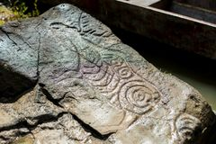 Ancient Petroglyph is located in the Sikhote-Alin , Khabarovsk, Russia. Ancient Petroglyph is located in the Sikhote-Alin , Khabarovskiy kray, Russia Royalty Free Stock Photos