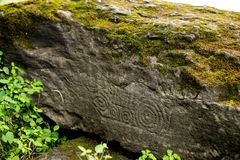 Ancient Petroglyph is located in the Sikhote-Alin , Khabarovsk, Russia Stock Images