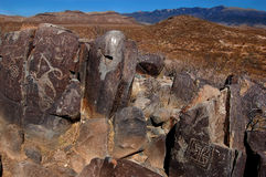 Ancient Petroglyphs. Petroglyphs carved into rock by the Jornada Mogollon people located at Three Rivers Petroglyph Site in New Mexico Royalty Free Stock Photos
