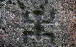 Ancient petroglyphs carved by the Carib tribes C royalty free stock photos