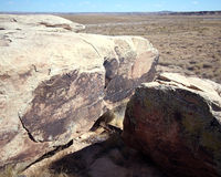 Ancient petroglyphs in Petrified Forest Stock Images