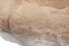 Ancient Petroglyphs on the Rocks at Yerbas Buenas in Atacama Desert in Chile. South America Royalty Free Stock Photos