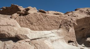Ancient Petroglyphs on the Rocks at Yerbas Buenas in Atacama Desert in Chile. South America royalty free stock images