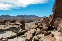 Ancient Petroglyphs on the Rocks at Yerbas Buenas in Atacama Desert, Chile, South America. Yerbas Buenas Petroglyphs : Ancient Petroglyphs on the Rocks in San royalty free stock image