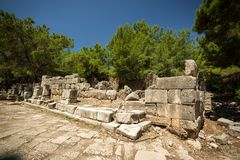 Ancient Phaselis's ruins. Stock Photo