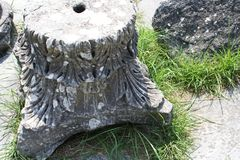 Ancient Philippi. Upside down Corinthian capital with soft acanthus leaves. Remains from historic Philippi that would have been visited by the Apostle Paul stock photography
